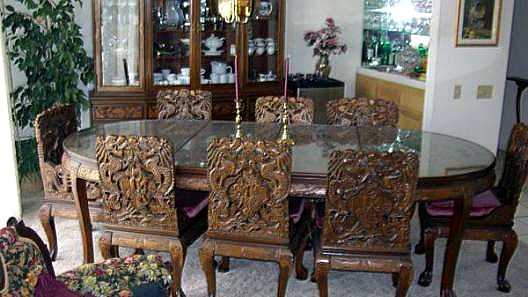 Carved Antique Oriental Dining Table 8 Chairs W Dragons Macthing Wine Cabnit Hutch