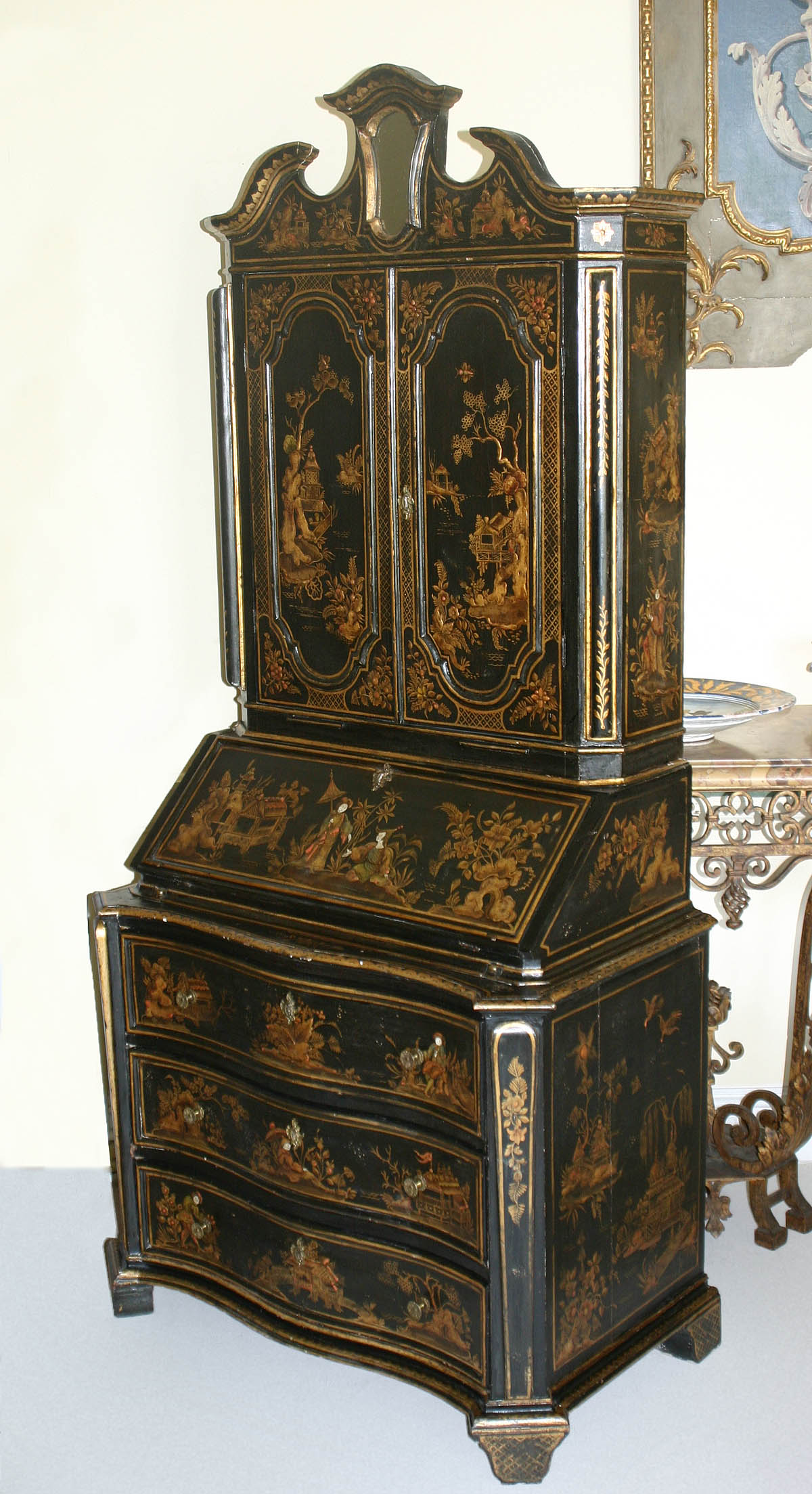 Fine, English, George I style, chinoiserie, fall-front ...