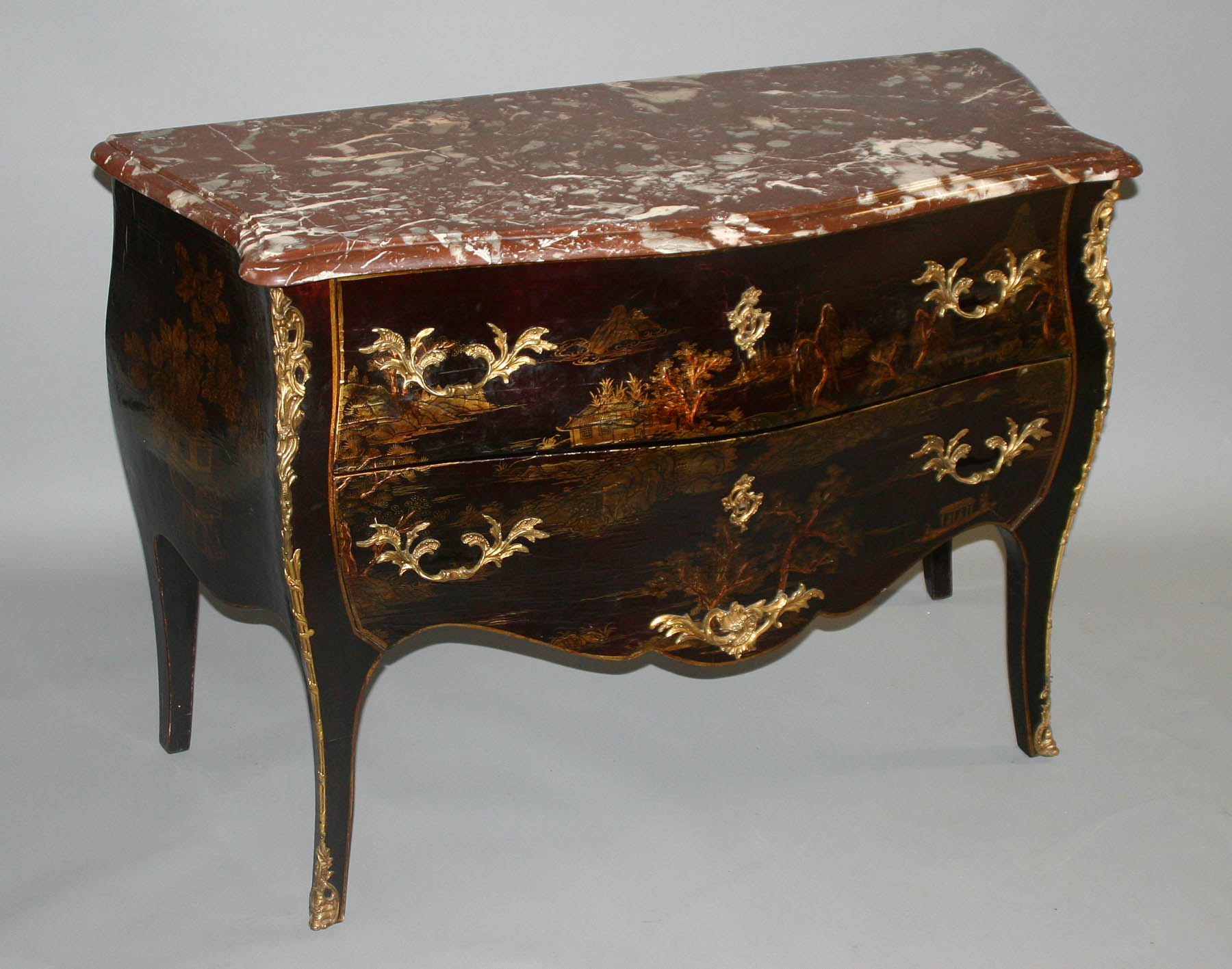 fine french louis xv style chinoiserie sauteuse sans traverse two drawer commode for sale. Black Bedroom Furniture Sets. Home Design Ideas
