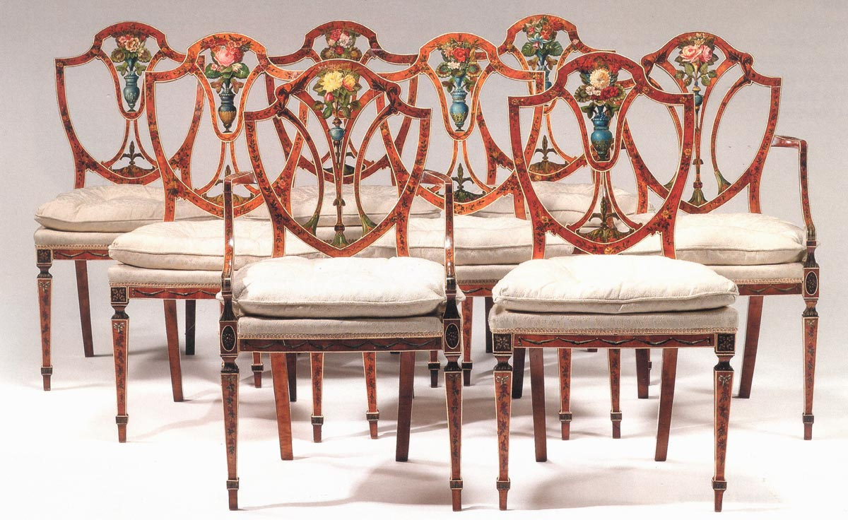 Fine Set Of Eight George Iii Satinwood And Painted Dining