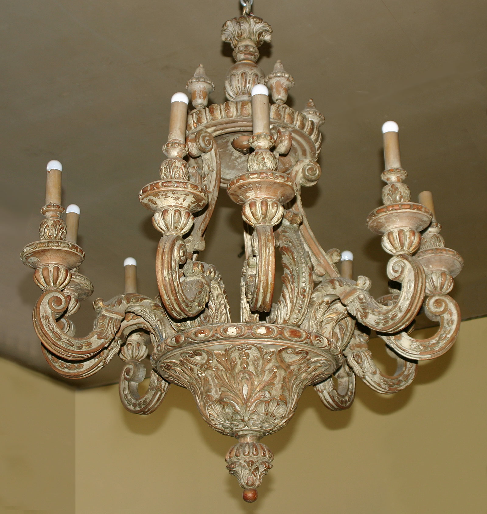 Italian baroque style painted pine ten light chandelier for sale italian baroque style painted pine ten light chandelier for sale aloadofball Gallery