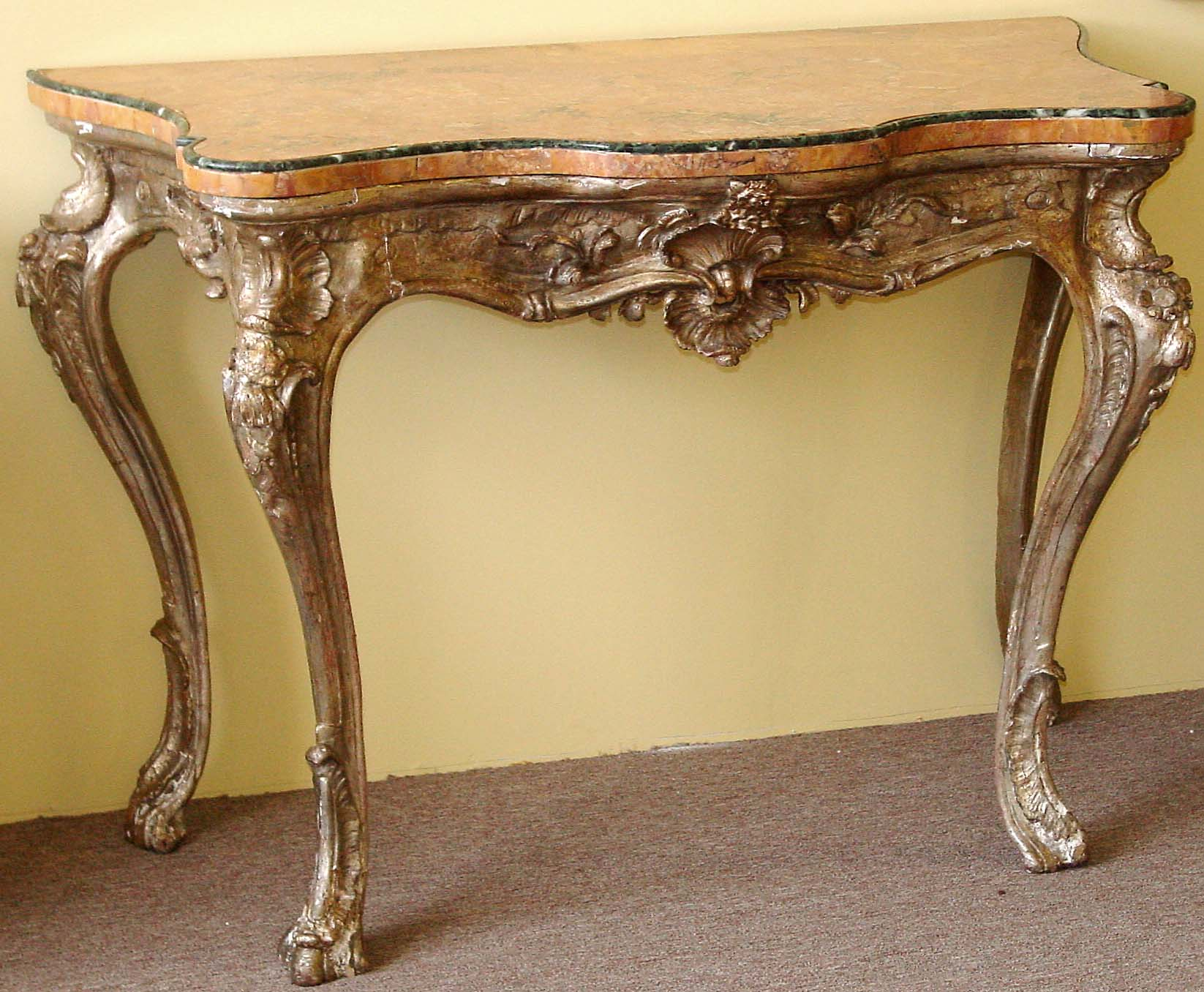 Northern Italian Rococo Period Silver Leaf Console Table