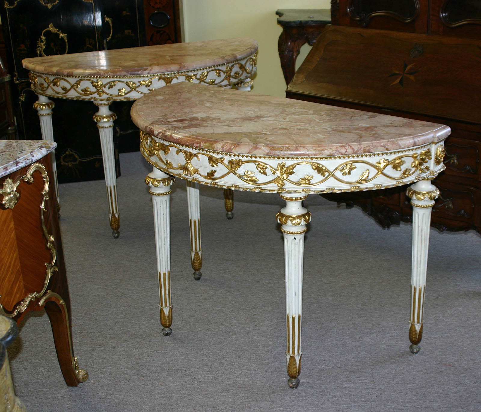 Pair of italian neoclassical white painted and parcel gilt demi pair of italian neoclassical white painted and parcel gilt demi lune console tables for sale antiques classifieds geotapseo Choice Image