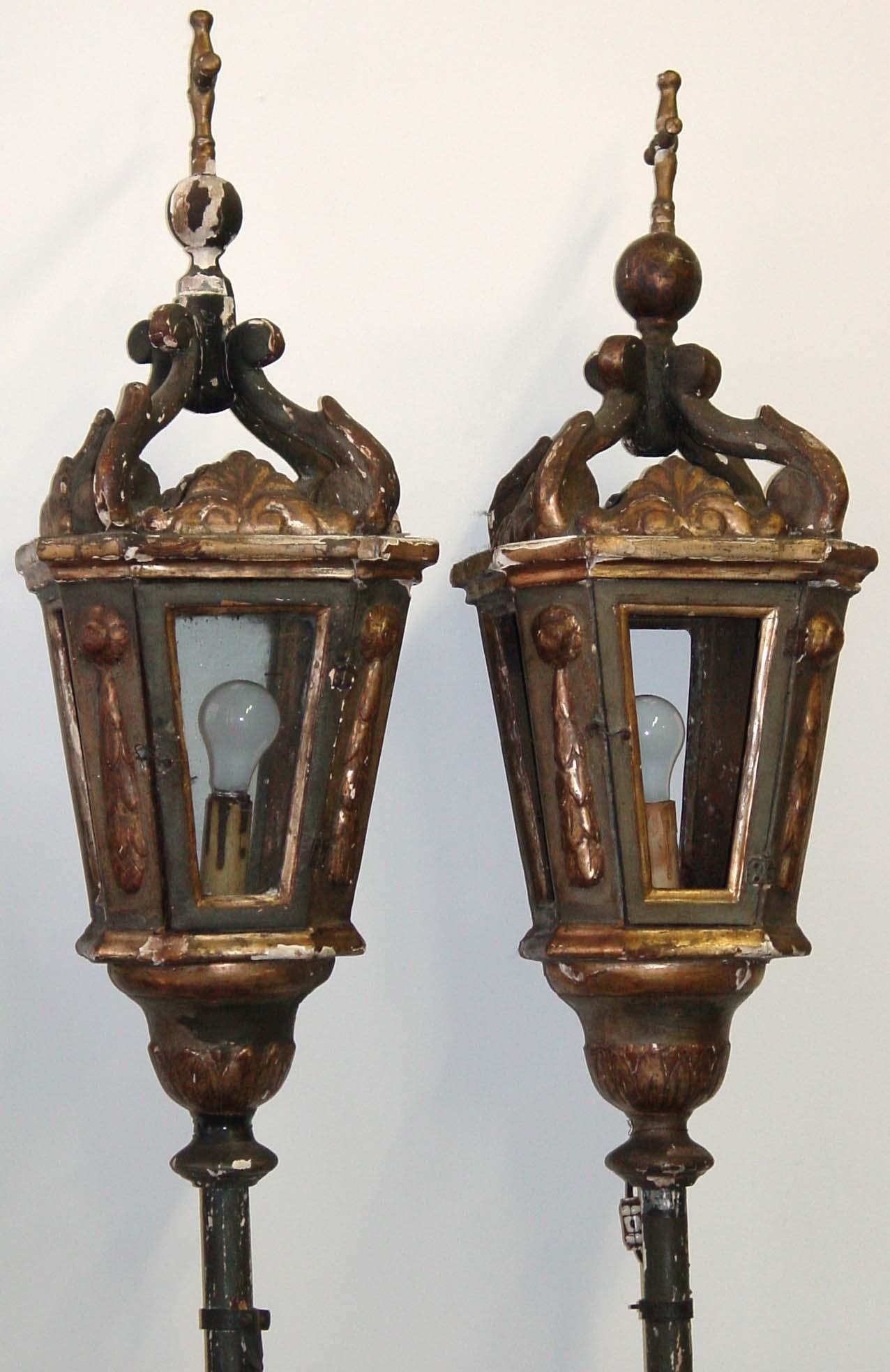 Pair of Venetian, Neoclassical Gondola lanterns For Sale ...