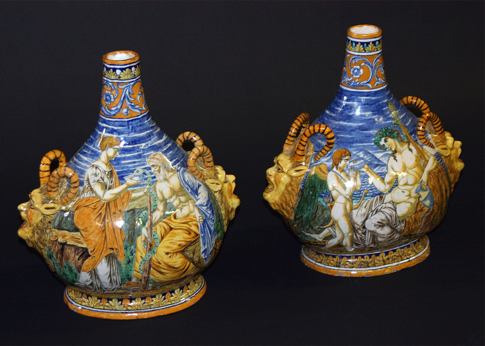 Pair of fine italian majolica bottle neck vases for sale with satyr masks each hand painted with scenes of neoclassical figures mid 19th century reviewsmspy