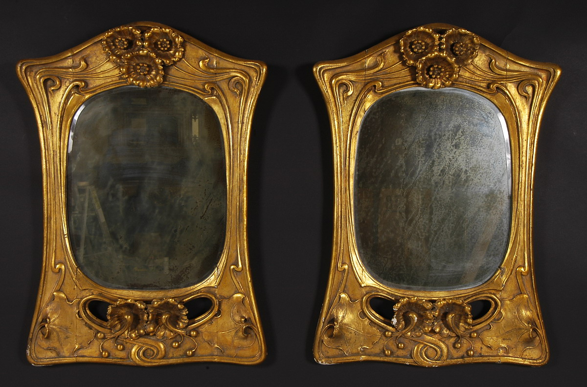 Rare Pair Of Art Nouveau Period Carved Giltwood Mirrors