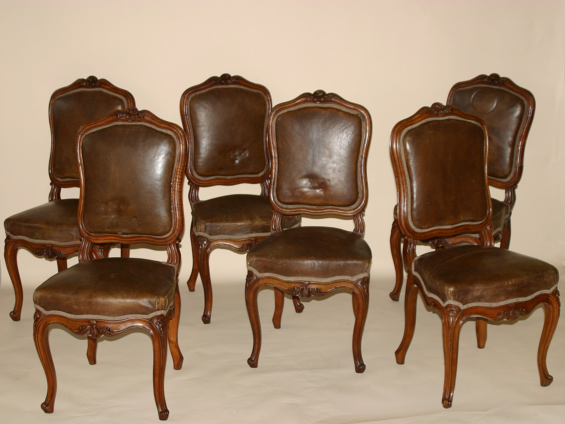 Set of six french louis xv style chaises for sale for Chaise louis xv