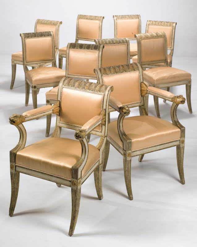 neo classical cream painted and parcel gilt dining chairs for sale