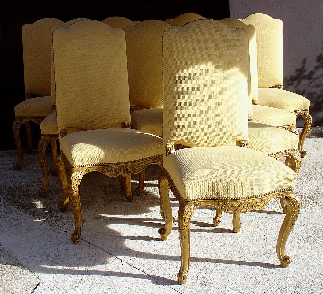 set of ten fine italian rococco tall back dining chairs for sale classifieds. Black Bedroom Furniture Sets. Home Design Ideas