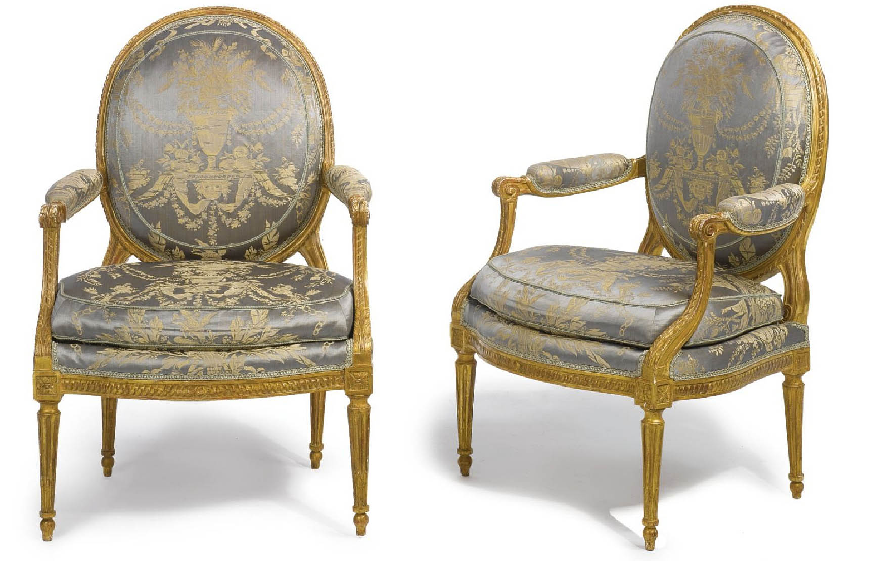 very fine pair of neoclassical period fauteuils of large dimension for sale. Black Bedroom Furniture Sets. Home Design Ideas