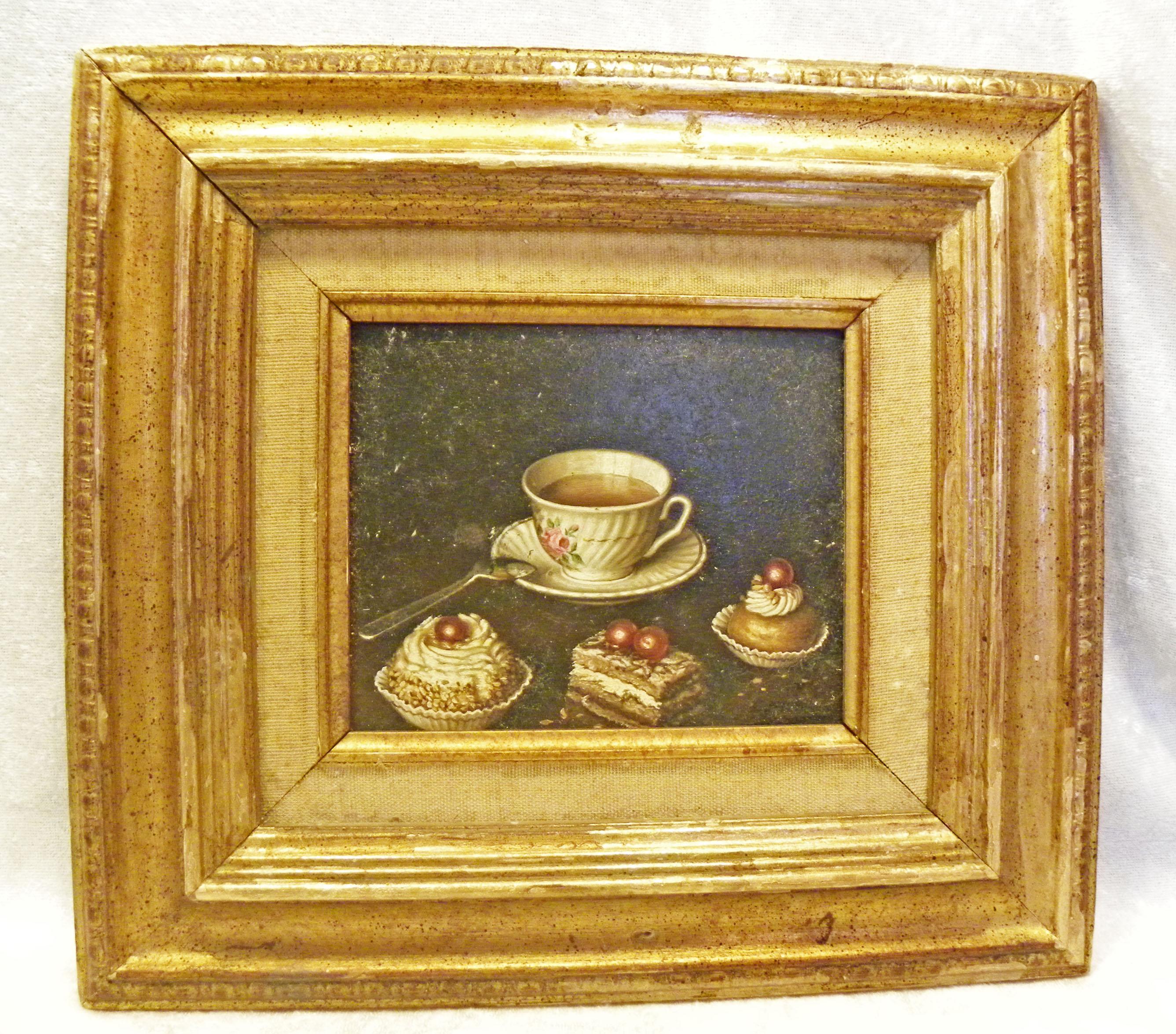 vintage original framed miniature still life oil painting