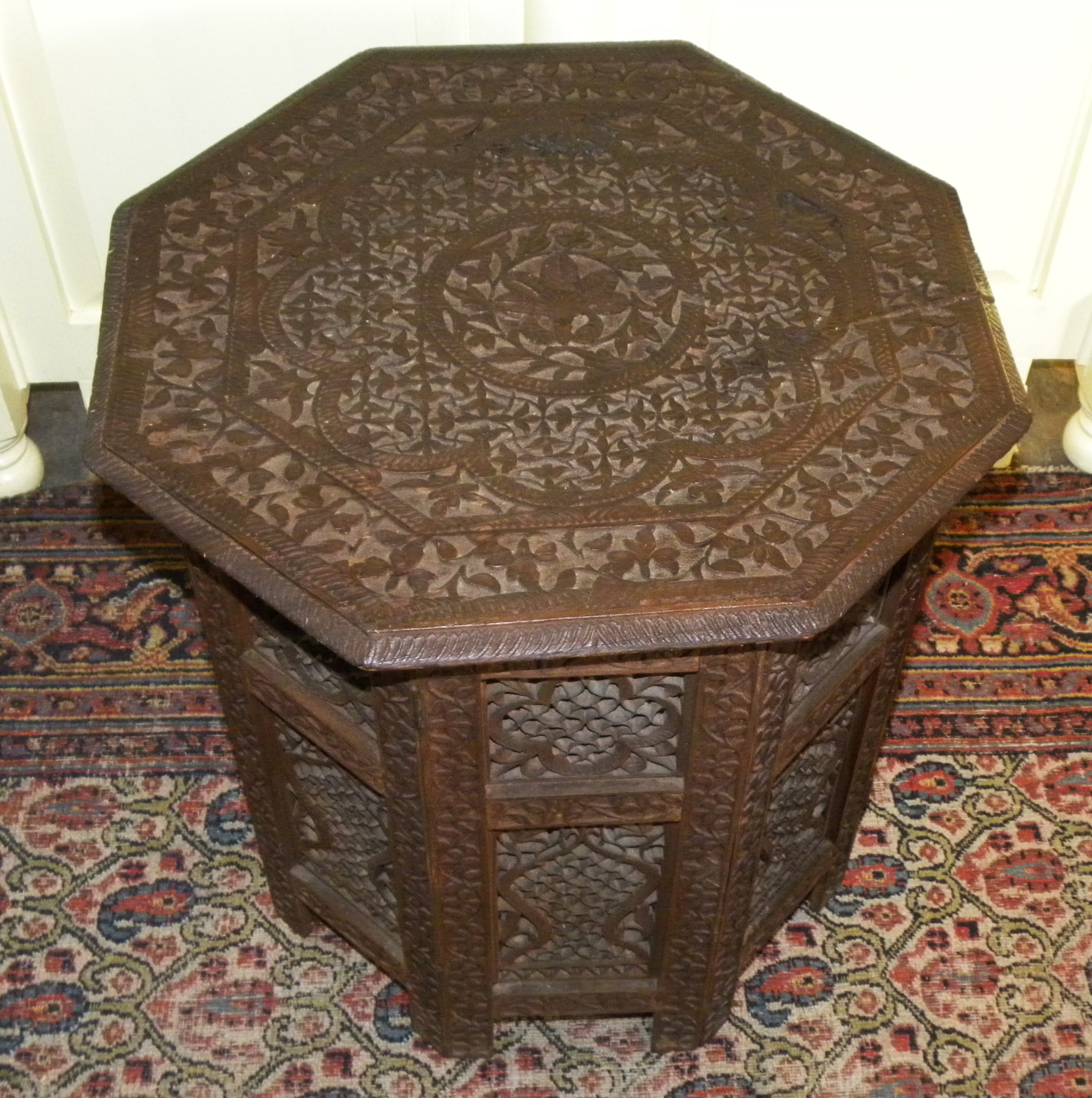 Magnificent Vintage Anglo Indian Foliate Carved Rosewood Octagonal Folding  Table   For Sale