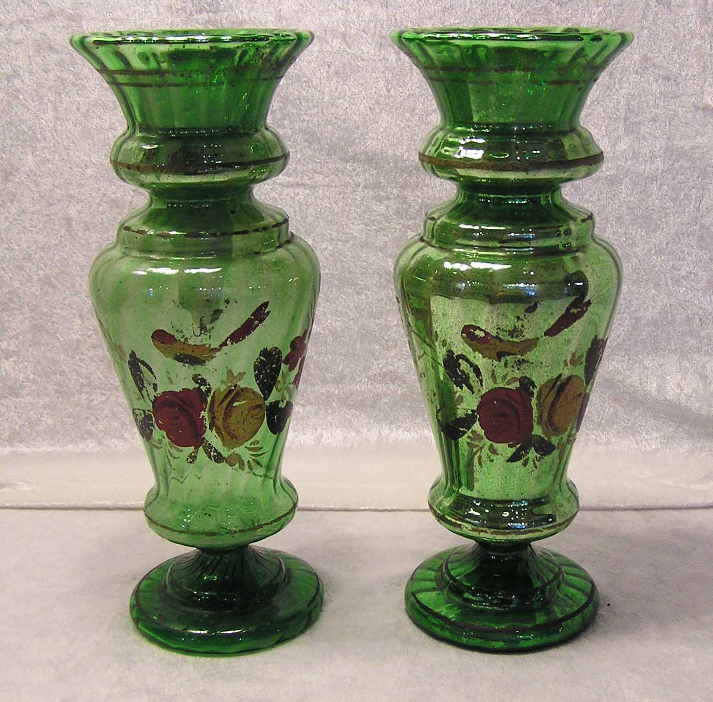 A pair of large lustrous bohemian blown molded silvered or mercury a pair of large lustrous bohemian blown molded silvered or mercury glass green ribbed vases hand painted red yellow roses bird c1880 for sale reviewsmspy