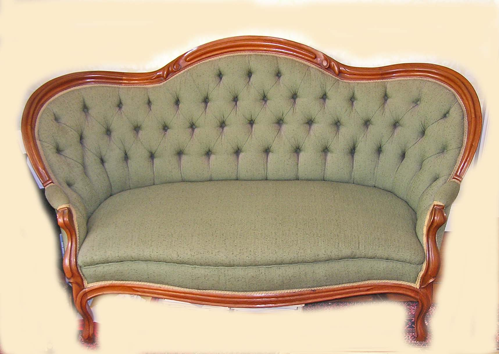 Antique rococo revival walnut finger roll green dupioni for Settees for sale