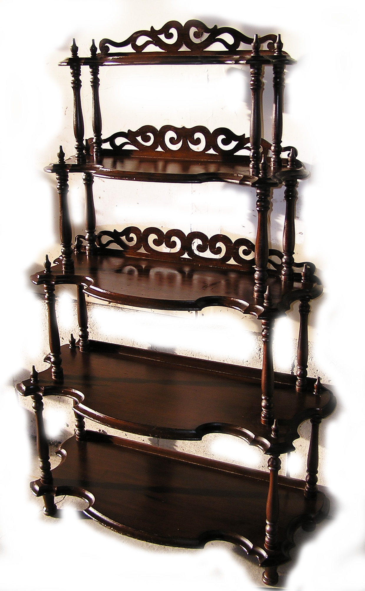 walnut etagere waterfall whatnot c 1870 for sale. Black Bedroom Furniture Sets. Home Design Ideas