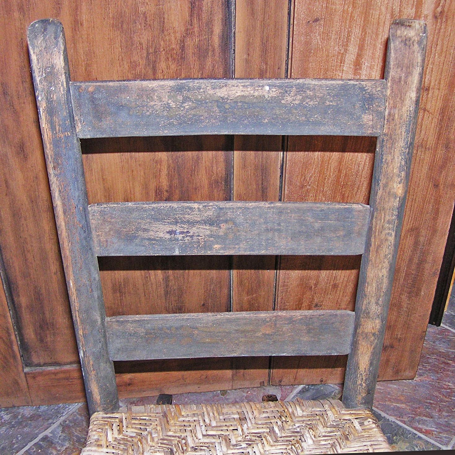 Shabby chic painted rocking chairs - A Diminutive Shabby Chic Black Painted Porch Cane Seated Ladder Back Rocking Chair With Thumb Back Stiles The Paint Is Very Worn And Chipped
