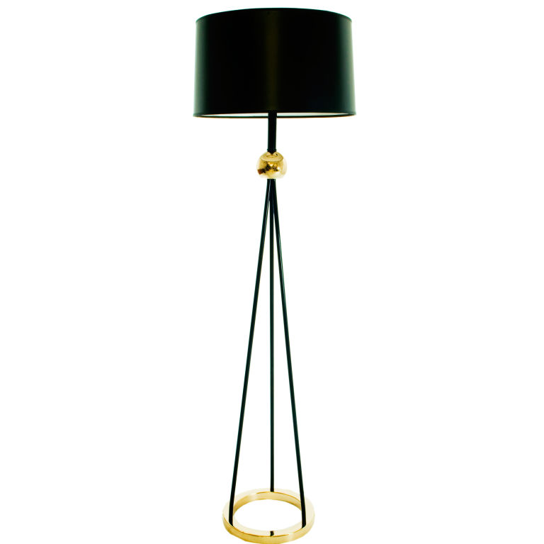 Nessen tripod floor lamp for sale antiques classifieds painted black metal rods converge into a brass ball joiner on this tripod floor lamp by nessen topped with a new black paper shade this lamp has been aloadofball Images