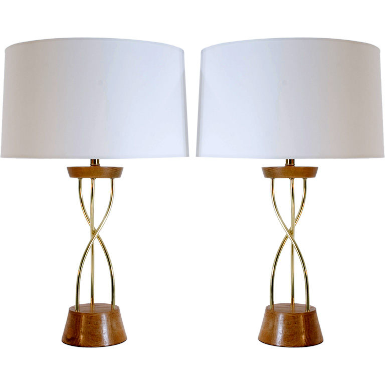 A Pair Of Brass Helix Table Lamps For Sale