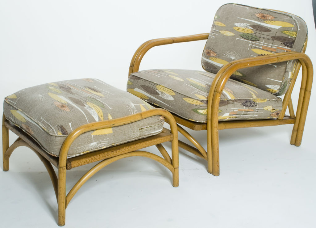 Pair Of Ritts Company Rattan Lounge Chairs With Ottoman