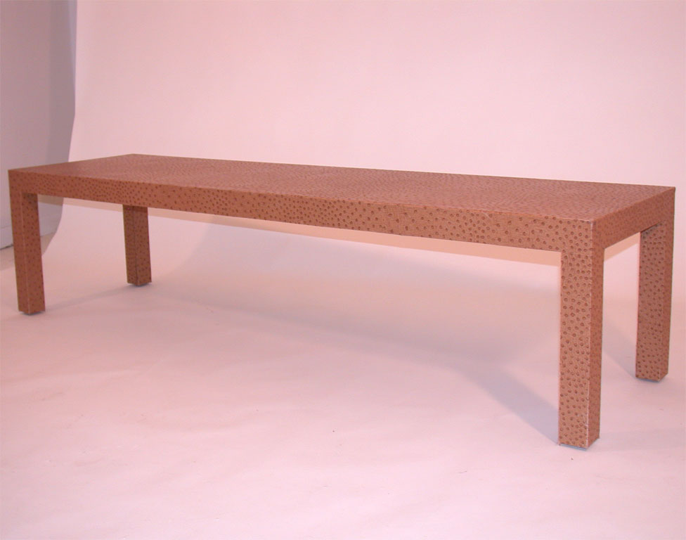 Heavily textured faux ostrich skin coffee table for sale for Retro 80s furniture