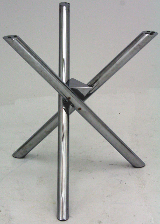 A round four person dining table by Pace with jack legs of high luster  chrome tube and original charcoal glass top. Italy 1970u0027s, Small chip on  edge of ...