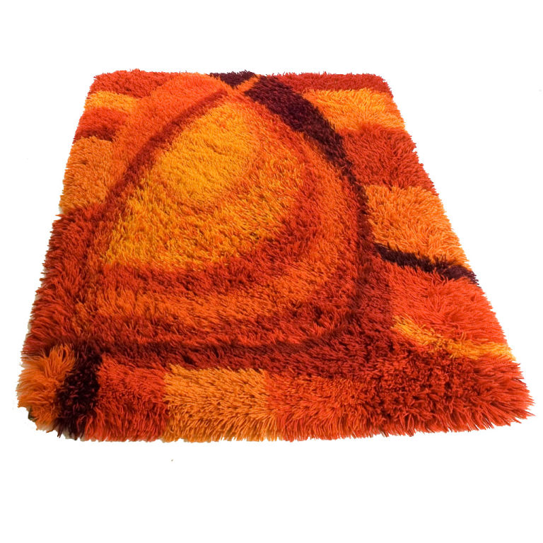Vibrant Burnt Orange And Rust Rya Rug
