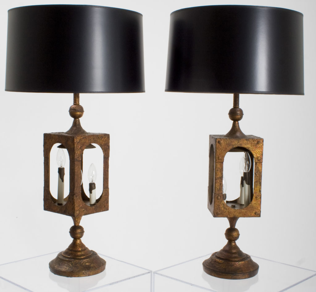 Pair Of Simple Church Lights For Sale: Pair Of Brutalist Watchman's Lantern Lamps For Sale