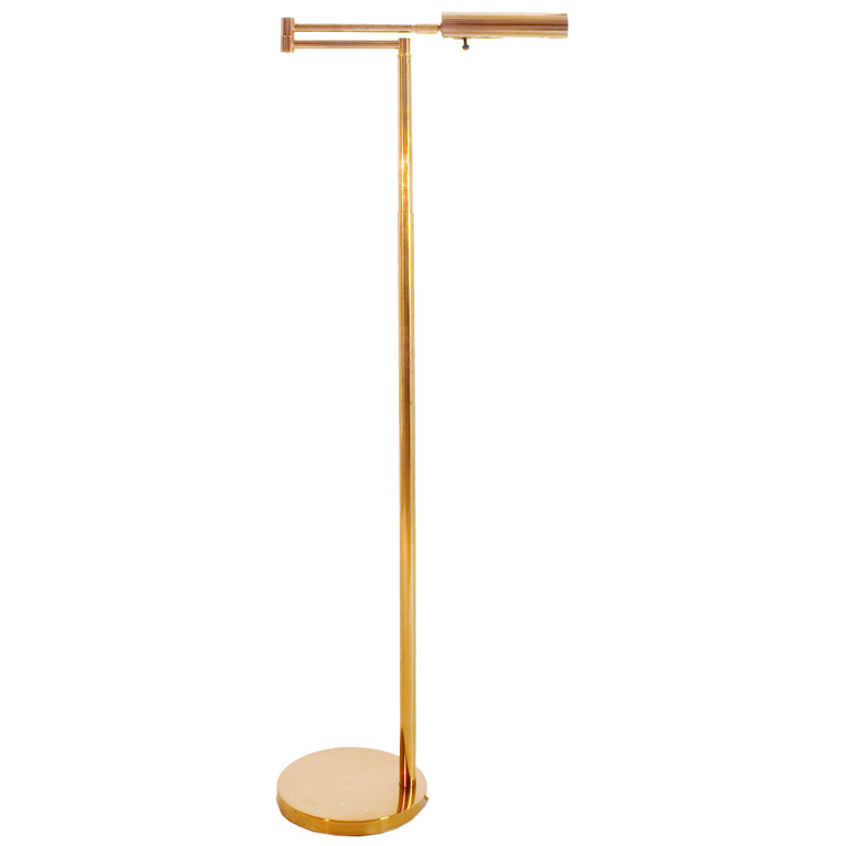 classic telescoping koch lowy swing arm floor lamp in brass with a. Black Bedroom Furniture Sets. Home Design Ideas