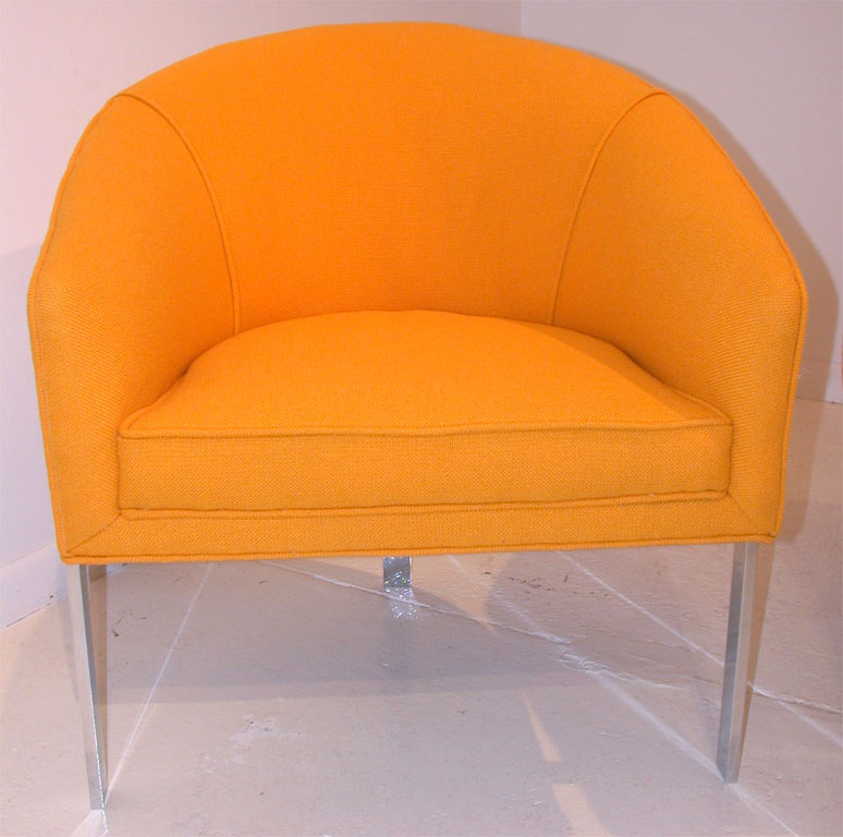 Milo baughman chair in chrome and yellow wool for sale for Retro 80s furniture