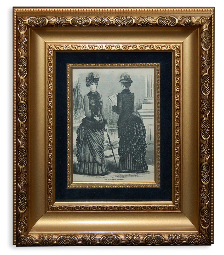 Pair of Antique Black & White Ladies Fashion Prints in Gilt Wood ...