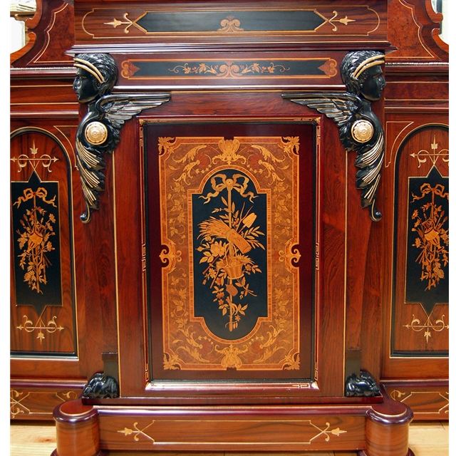 Spectacular Inlaid Cabinet By Herter Brothers For Sale