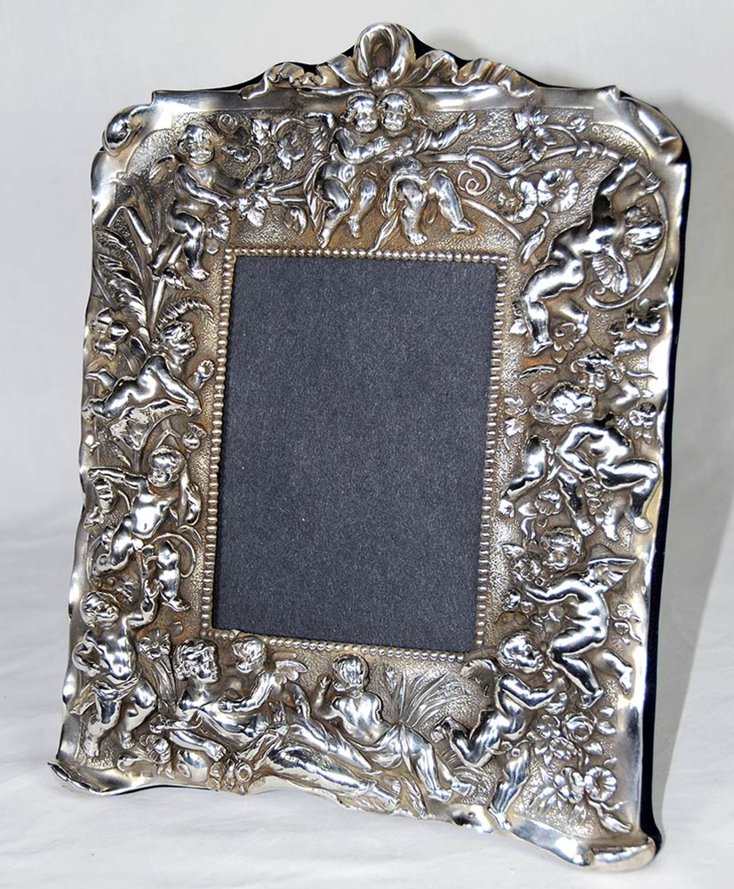 Sterling Silver Picture Frame with Cherub Motif For Sale | Antiques ...