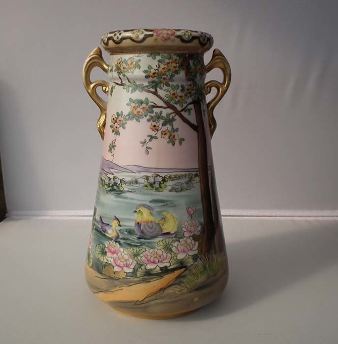 Pair Of Antique Imperial Nippon Japanese Porcelain Vases For Sale