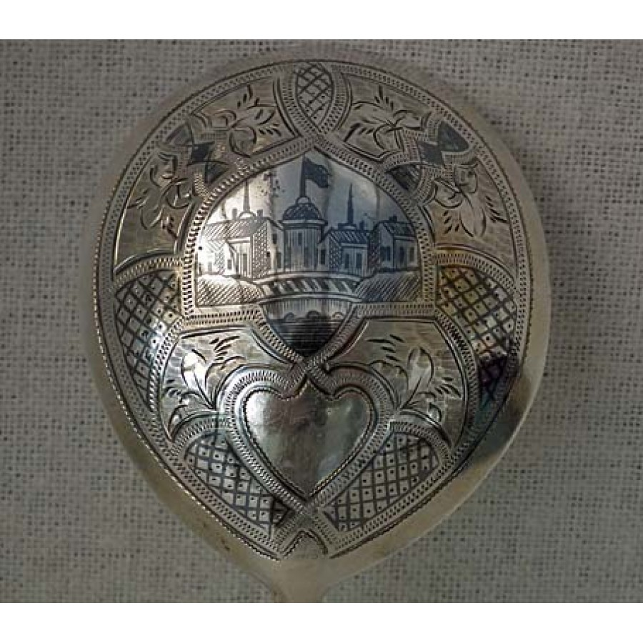 SOLD Antique Imperial Russian silver and niello spoon Moscow