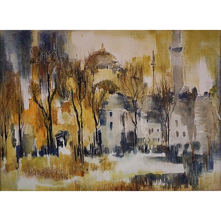Sold turkish watercolor painting hagia sophia istanbul for Famous prints for sale