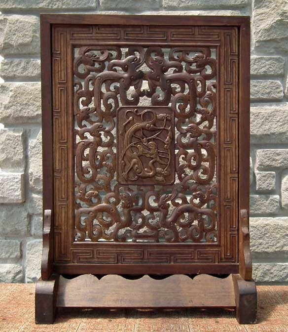 Sold antique chinese qing dynasty carved huanghuali wood