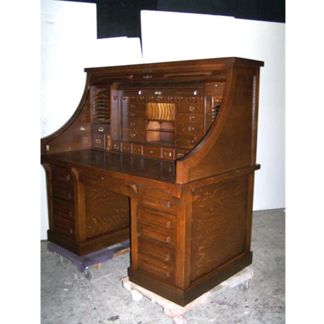 Antique 19th C American Oak Rolltop Railroad Desk For