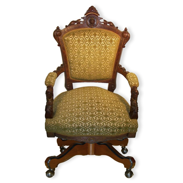 Beautiful American Renaissance Revival Armed Swivel Chair For Sale Classifieds