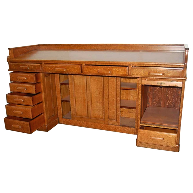 1890 Description:Magnificent antique American turn of the century  architecht's/accounting desk. - Antique Oak American Architect's Desk C. 1890 For Sale Antiques