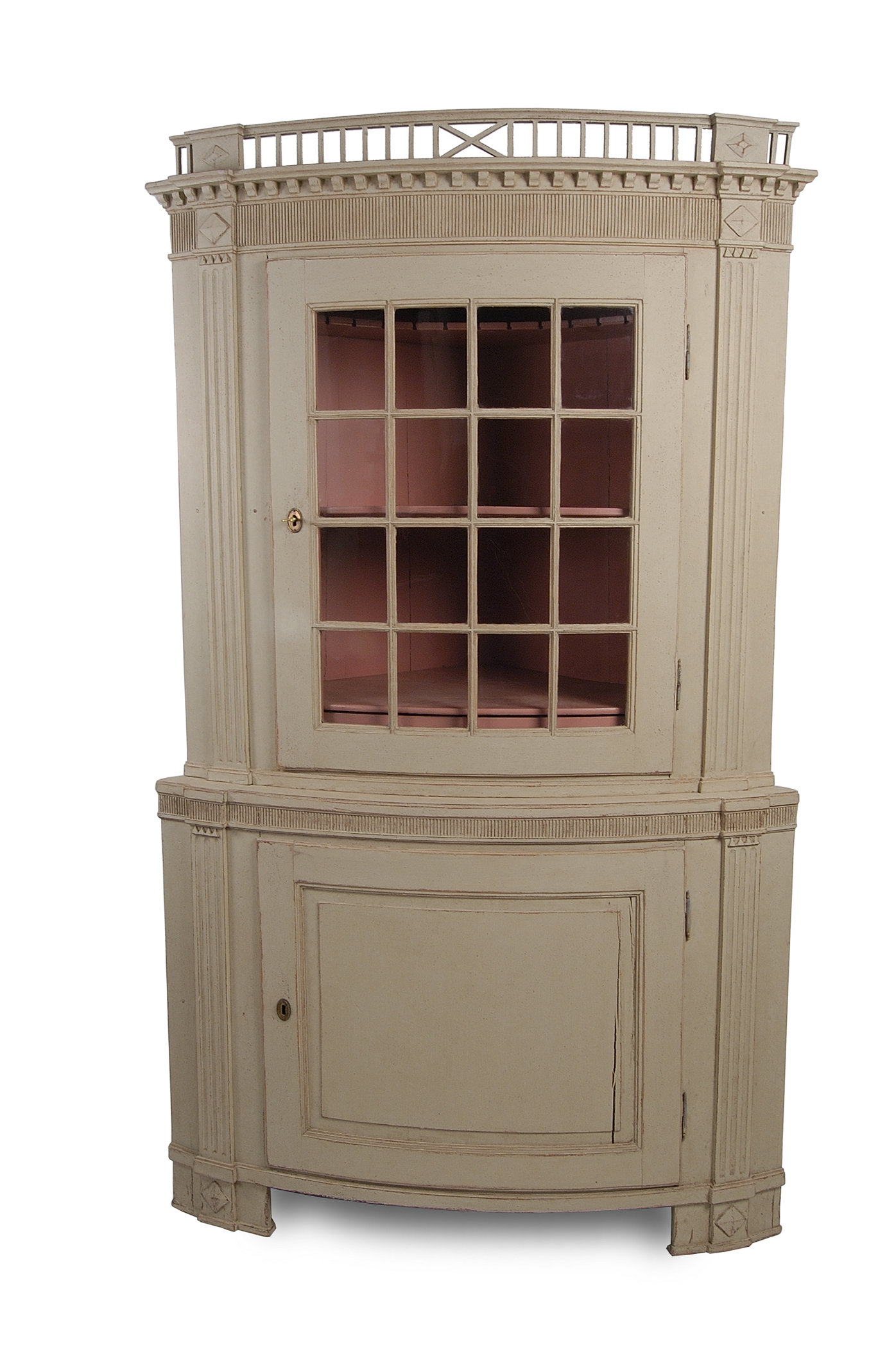 Swedish Antique Painted Corner Cupboard - 1780 - Antiques.com Directories Resources