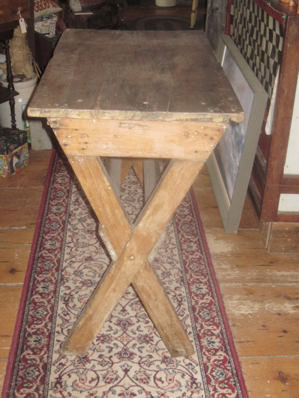 19th C New England Primitive Pine Sawbuck Table For Sale