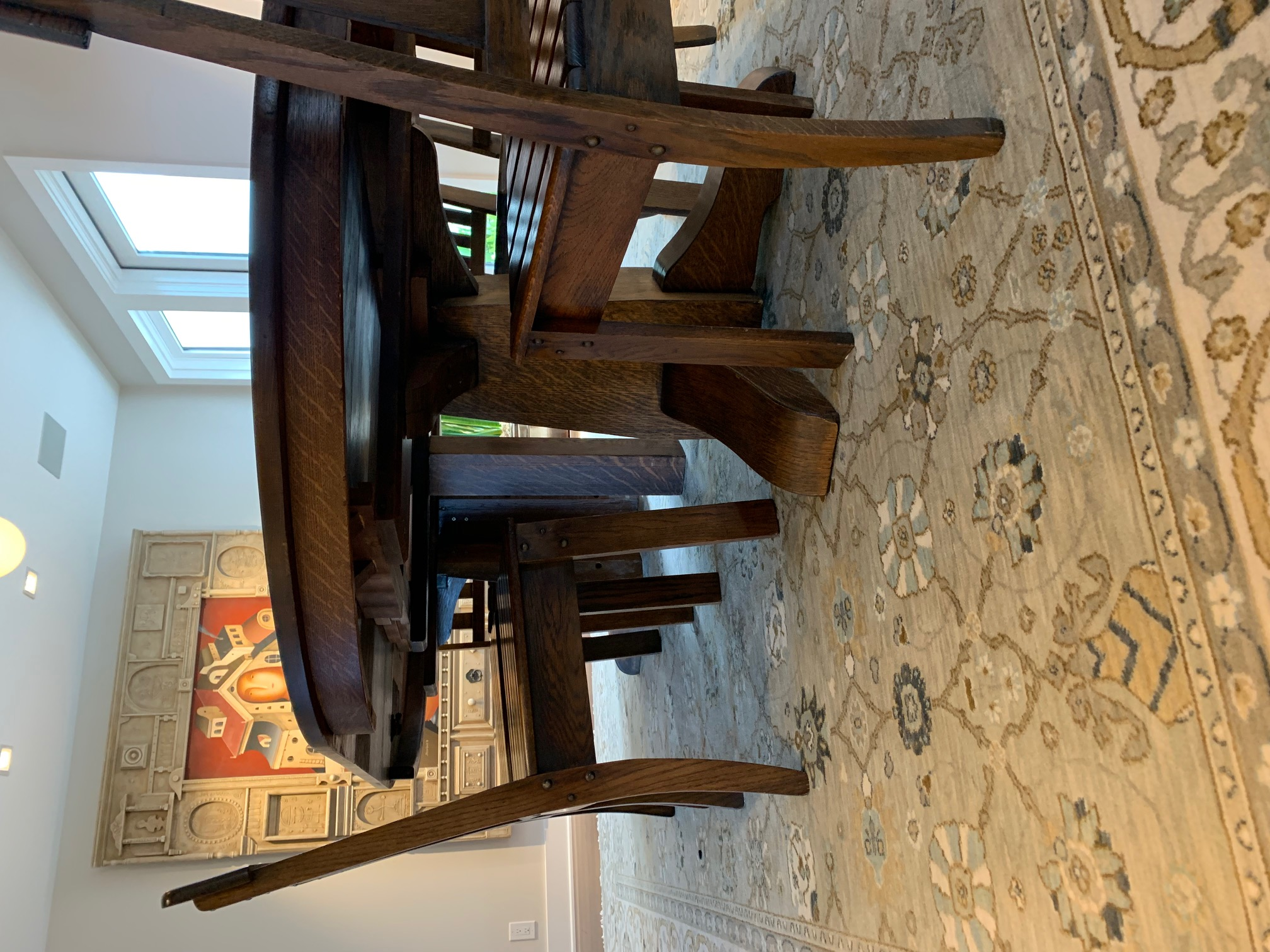 stickley dining room table | Gustav Stickley Dining Room Table w/ Four Leaves and Six ...