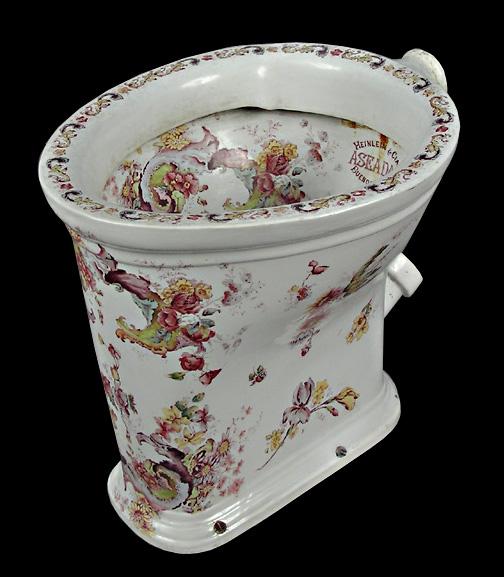 Rare Decorated Toilet Bowl - Bowl Interior & Exterior