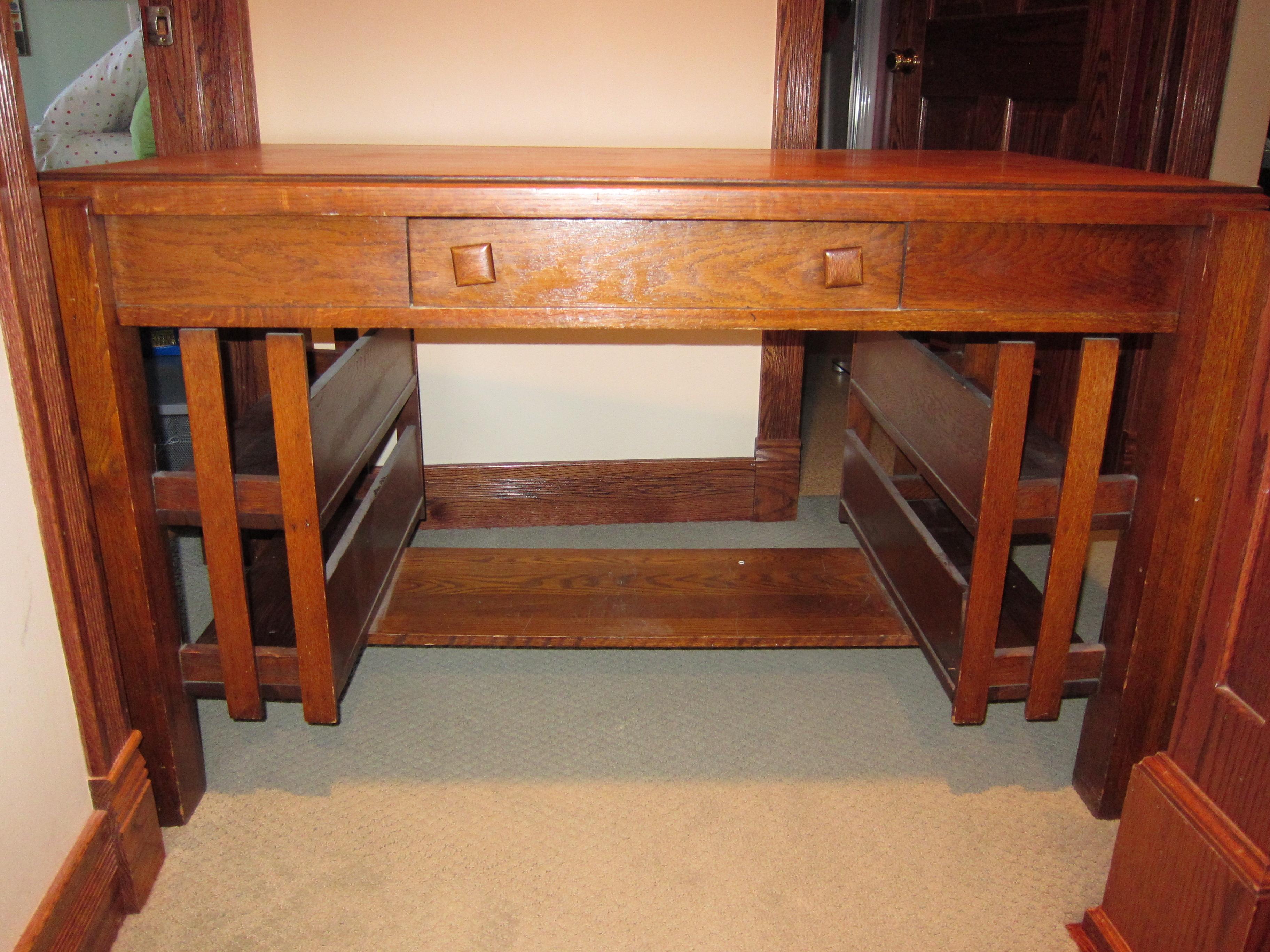 Partner oak library desk For Sale Antiques