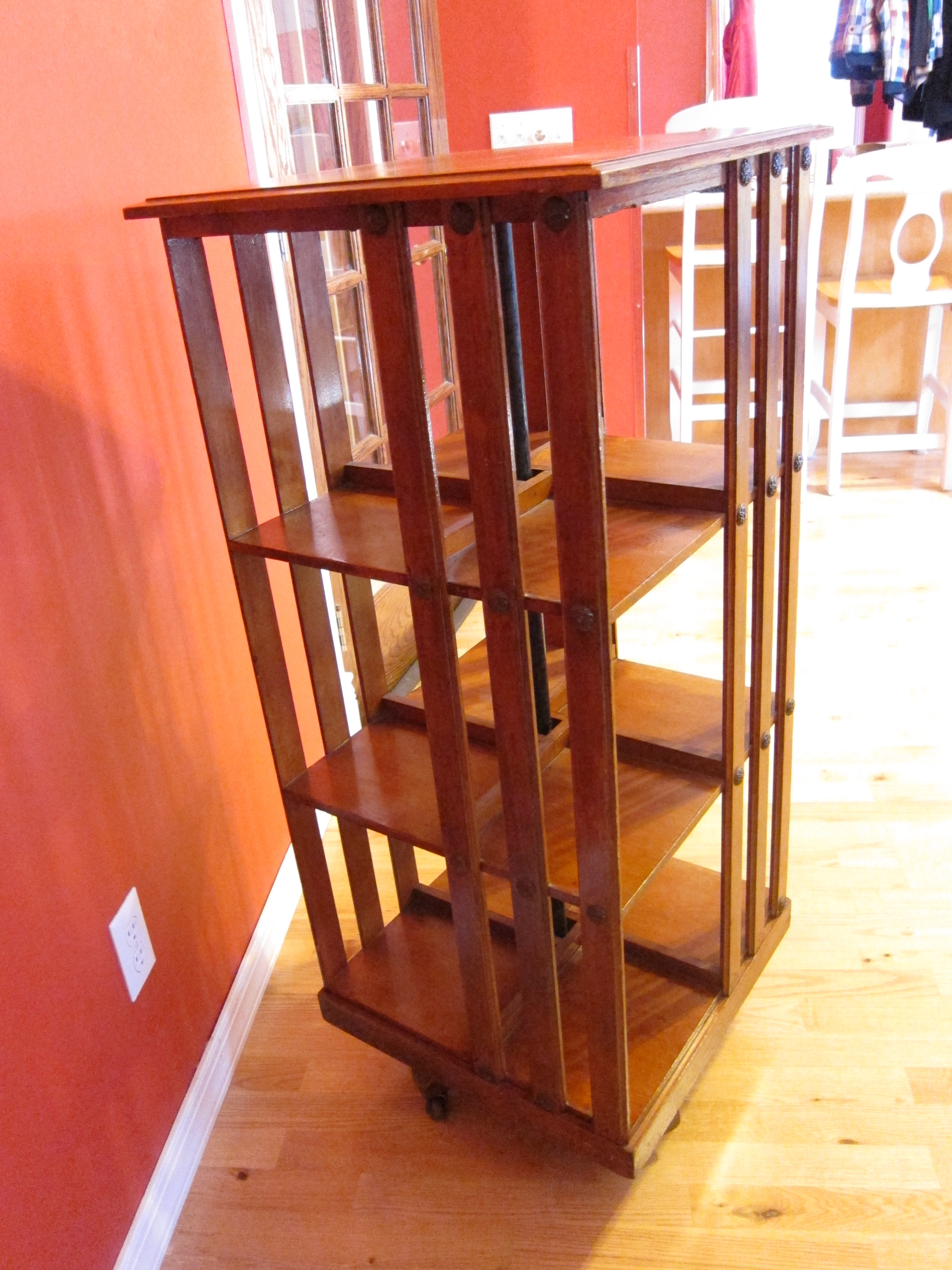bookcase rotating wooden product chairish danner