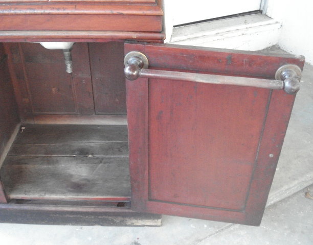 Antique Pullman/Eastlake Walnut Commode With Hidden Fancy Sink And Mirror.  Rare!   For Sale