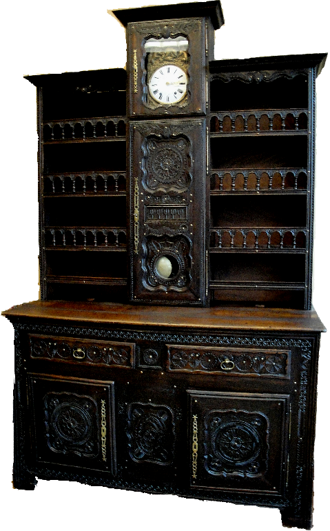 18th century brittany vaisselier with morbier clock for. Black Bedroom Furniture Sets. Home Design Ideas