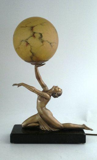 art deco female table lamp item 758 for sale. Black Bedroom Furniture Sets. Home Design Ideas