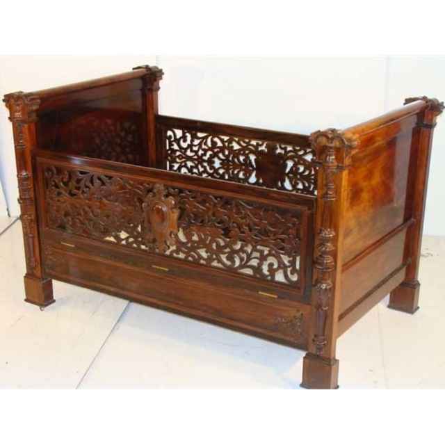 Antique victorian rosewood baby crib by alexander roux for sale