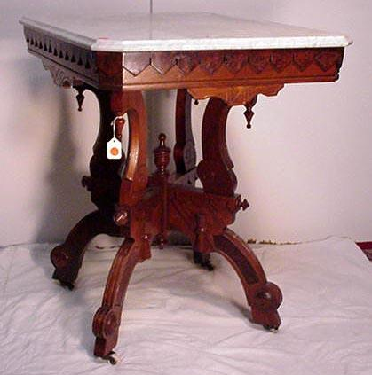 Victorian walnut marble top table for sale antiquescom for Antique victorian marble top coffee table